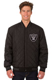 Las Vegas Raiders Wool & Leather Reversible Jacket w/ Embroidered Logos - Black - J.H. Sports Jackets
