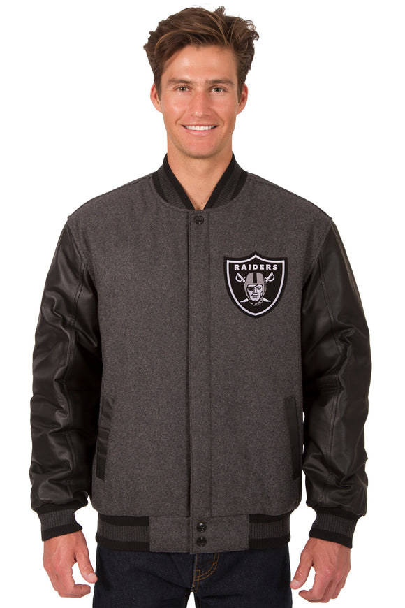 Las Vegas Raiders Wool & Leather Reversible Jacket w/ Embroidered Logos - Charcoal/Black - J.H. Sports Jackets