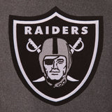 Oakland Raiders Wool & Leather Reversible Jacket w/ Embroidered Logos - Charcoal/Black - JH Design