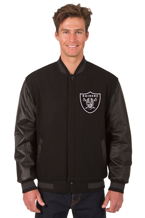 Oakland Raiders Wool & Leather Reversible Jacket w/ Embroidered Logos - Black - JH Design