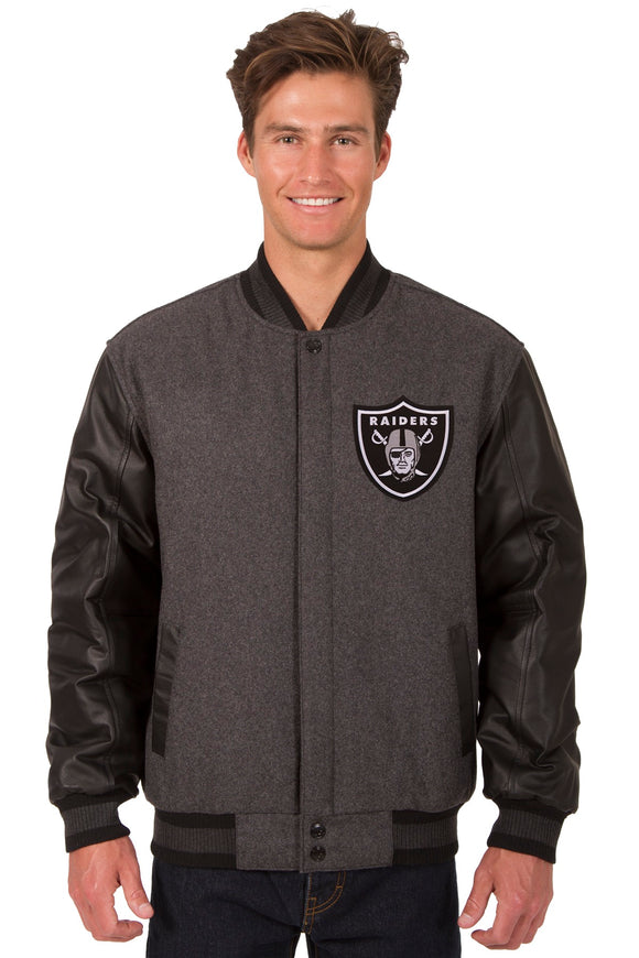 Las Vegas Raiders Wool & Leather Reversible Jacket w/ Embroidered Logos - Charcoal/Black - JH Design