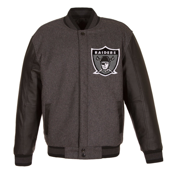 Las Vegas Raiders Wool & Leather Throwback Reversible Jacket - Charcoal - J.H. Sports Jackets