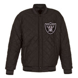 Oakland Raiders Wool & Leather Throwback Reversible Jacket - Charcoal - JH Design