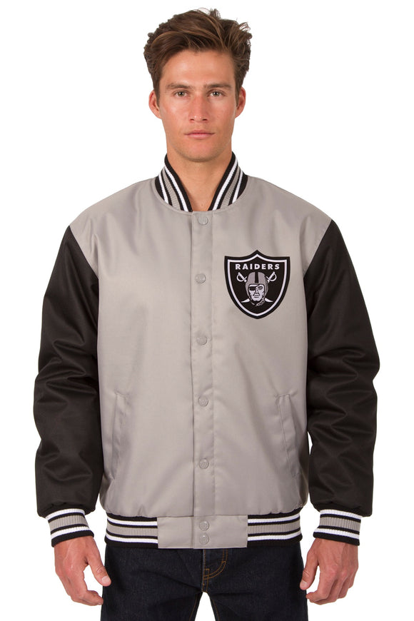 Las Vegas Raiders Poly Twill Varsity Jacket - Grey/Black - JH Design