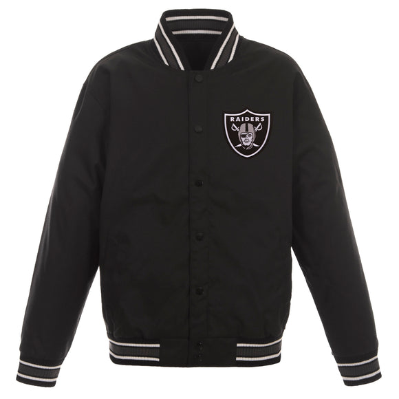 Las Vegas Raiders Poly Twill Varsity Jacket - Black - JH Design