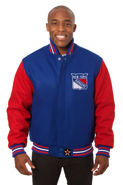 New York Rangers Embroidered Wool Jacket - Royal/Red