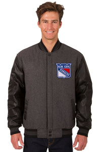 New York Rangers Wool & Leather Reversible Jacket w/ Embroidered Logos - Charcoal/Black - J.H. Sports Jackets