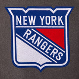 New York Rangers Wool & Leather Reversible Jacket w/ Embroidered Logos - Charcoal/Black - JH Design