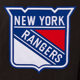 New York Rangers Wool & Leather Reversible Jacket w/ Embroidered Logos - Black