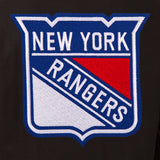 New York Rangers Wool & Leather Reversible Jacket w/ Embroidered Logos - Black - JH Design