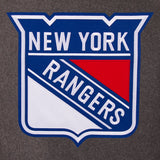 New York Rangers Wool & Leather Reversible Jacket w/ Embroidered Logos - Charcoal/Black