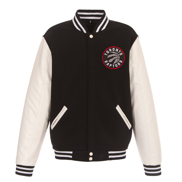 Toronto Raptors - JH Design Reversible Fleece Jacket with Faux Leather Sleeves - Black/White - JH Design