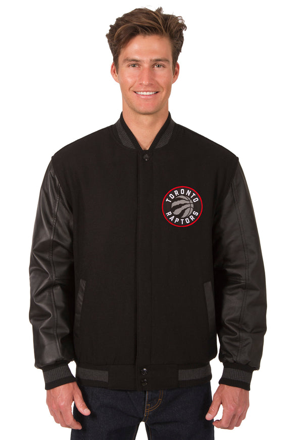 Toronto Raptors Wool & Leather Reversible Jacket w/ Embroidered Logos - Black