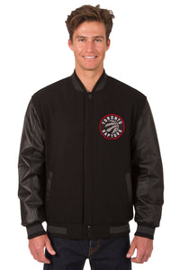 Toronto Raptors Wool & Leather Reversible Jacket w/ Embroidered Logos - Black - JH Design