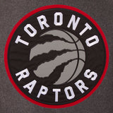 Toronto Raptors Wool & Leather Reversible Jacket w/ Embroidered Logos - Charcoal/Black - J.H. Sports Jackets