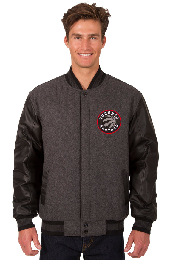 Toronto Raptors Wool & Leather Reversible Jacket w/ Embroidered Logos - Charcoal/Black