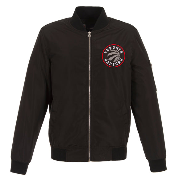 Toronto Raptors JH Design Lightweight Nylon Bomber Jacket – Black