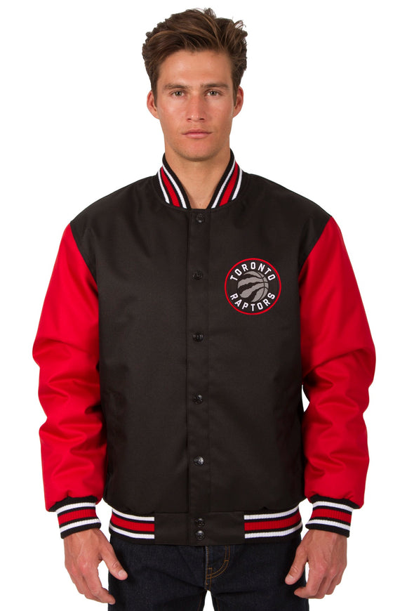 Toronto Raptors Poly Twill Varsity Jacket - Black/Red
