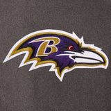 Baltimore Ravens Wool & Leather Reversible Jacket w/ Embroidered Logos - Charcoal/Black