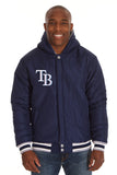 Tampa Bay Rays Two-Tone Reversible Fleece Hooded Jacket - Gray/Navy - JH Design