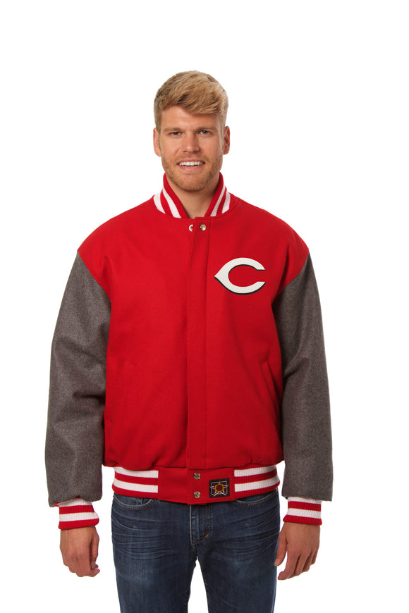 Cincinnati Reds Two-Tone Wool Jacket w/ Handcrafted Leather Logos - Red/Gray
