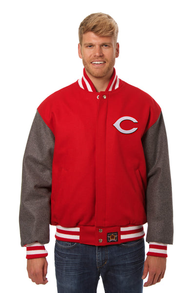 Cincinnati Reds Embroidered Wool Jacket - Red/Charcoal
