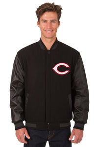 Cincinnati Reds Wool & Leather Reversible Jacket w/ Embroidered Logos - Black