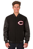 Cincinnati Reds Wool & Leather Reversible Jacket w/ Embroidered Logos - Black - JH Design