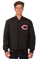Cincinnati Reds Wool & Leather Reversible Jacket w/ Embroidered Logos - Charcoal/Black
