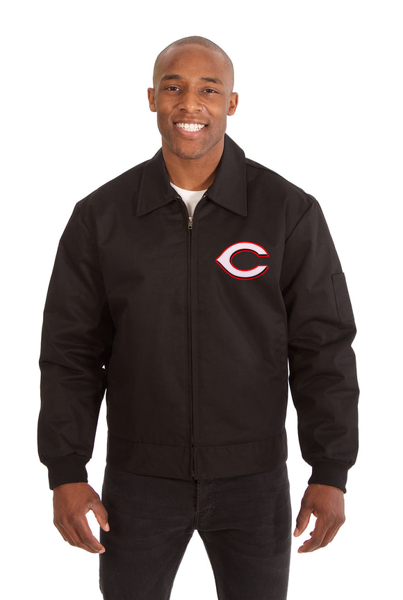 Cincinnati Reds Cotton Twill Workwear Jacket - Black - JH Design