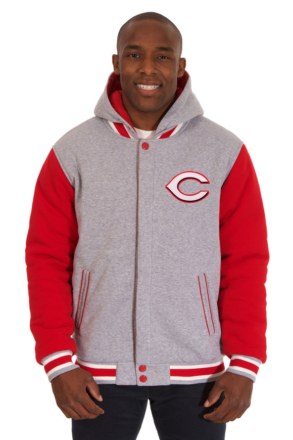 Cincinnati Reds Two-Tone Reversible Fleece Hooded Jacket - Gray/Red