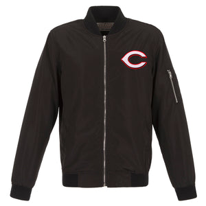 Cincinnati Reds JH Design Lightweight Nylon Bomber Jacket – Black