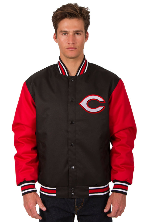 Cincinnati Reds Poly Twill Varsity Jacket - Black/Red - JH Design