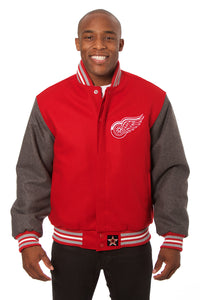 Detroit Red Wings Embroidered All Wool Two-Tone Jacket - Red/Gray - JH Design