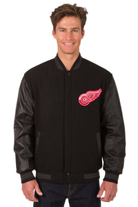 Detroit Red Wings Wool & Leather Reversible Jacket w/ Embroidered Logos - Black - J.H. Sports Jackets