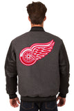 Detroit Red Wings Wool & Leather Reversible Jacket w/ Embroidered Logos - Charcoal/Black