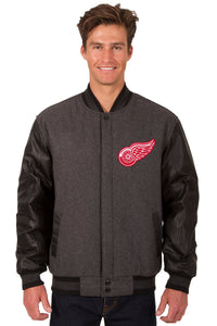 Detroit Red Wings Wool & Leather Reversible Jacket w/ Embroidered Logos - Charcoal/Black - JH Design