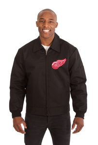 Detroit Red Wings Cotton Twill Workwear Jacket - Black - JH Design