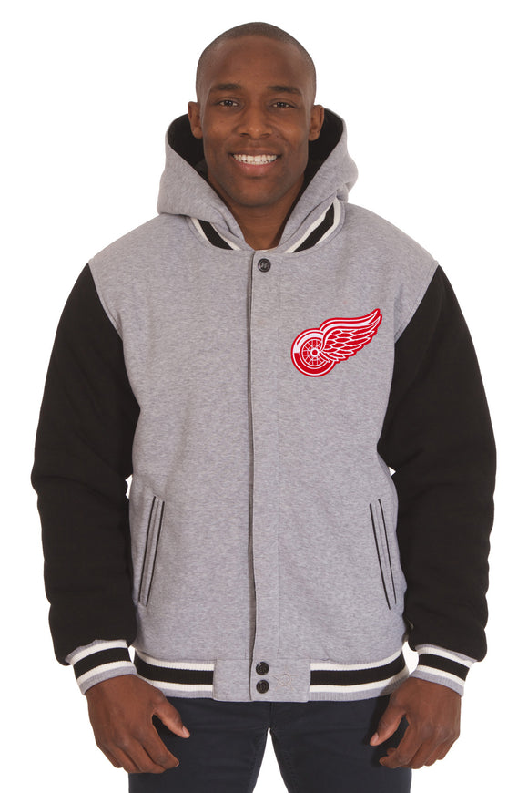 Detroit Red Wings Two-Tone Reversible Fleece Hooded Jacket - Gray/Black