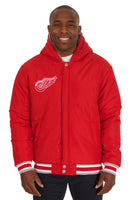 Detroit Red Wings Two-Tone Reversible Fleece Hooded Jacket - Gray/Red