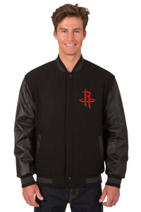 Houston Rockets Wool & Leather Reversible Jacket w/ Embroidered Logos - Black - JH Design