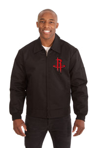 Houston Rockets Cotton Twill Workwear Jacket - Black - JH Design