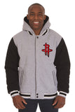 Houston Rockets Two-Tone Reversible Fleece Hooded Jacket - Gray/Black - J.H. Sports Jackets