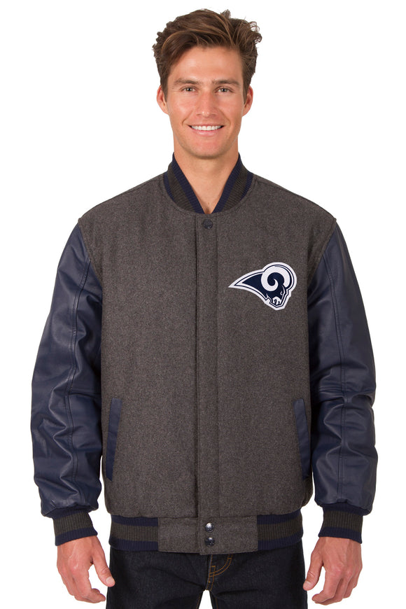 Los Angeles Rams Wool & Leather Reversible Jacket w/ Embroidered Logos - Charcoal/Navy