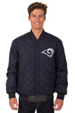 Los Angeles Rams Wool & Leather Reversible Jacket w/ Embroidered Logos - Charcoal/Navy - JH Design