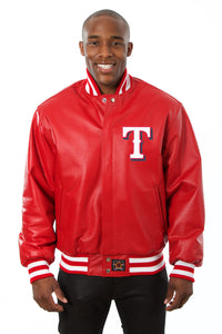 Texas Rangers Full Leather Jacket - Red - JH Design