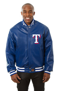 Texas Rangers Full Leather Jacket - Royal - JH Design
