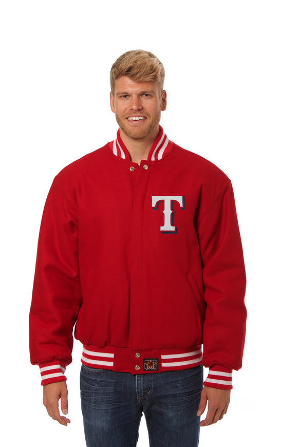 Texans Rangers Wool Jacket w/ Handcrafted Leather Logos - Red - JH Design