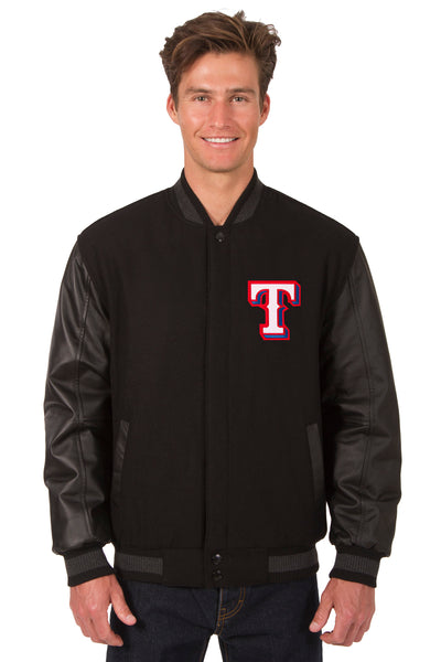 Texas Rangers Wool & Leather Reversible Jacket w/ Embroidered Logos - Black