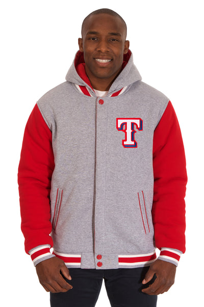 Texas Rangers Two-Tone Reversible Fleece Hooded Jacket - Gray/Red